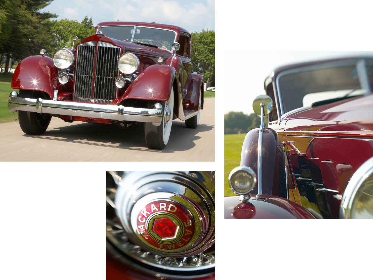 A red, 1934 Packard drives by on a bright and sunny day.