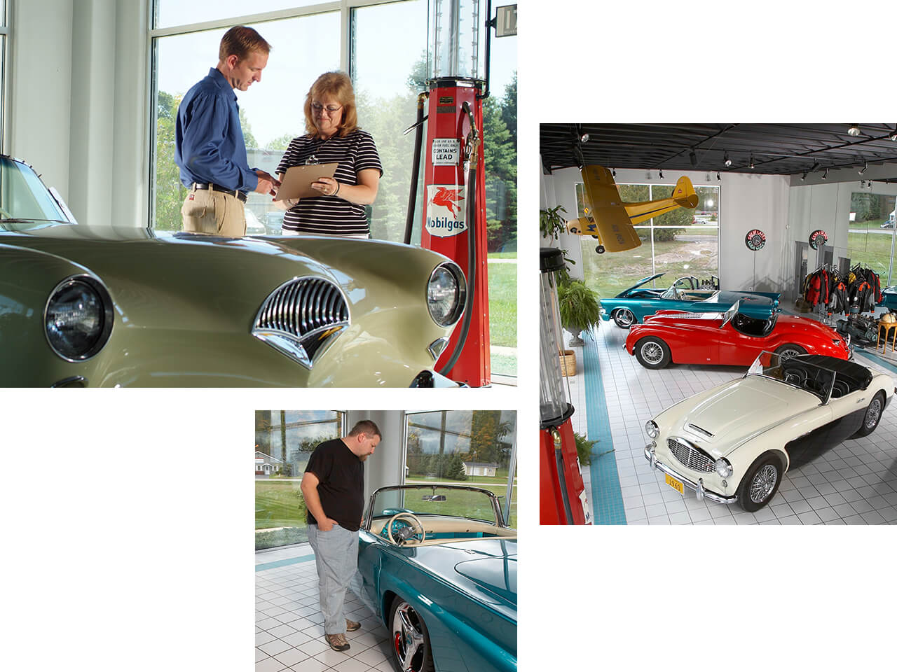 Collector vehicles on display at a dealership with a man giving a woman guidance on her purchase.