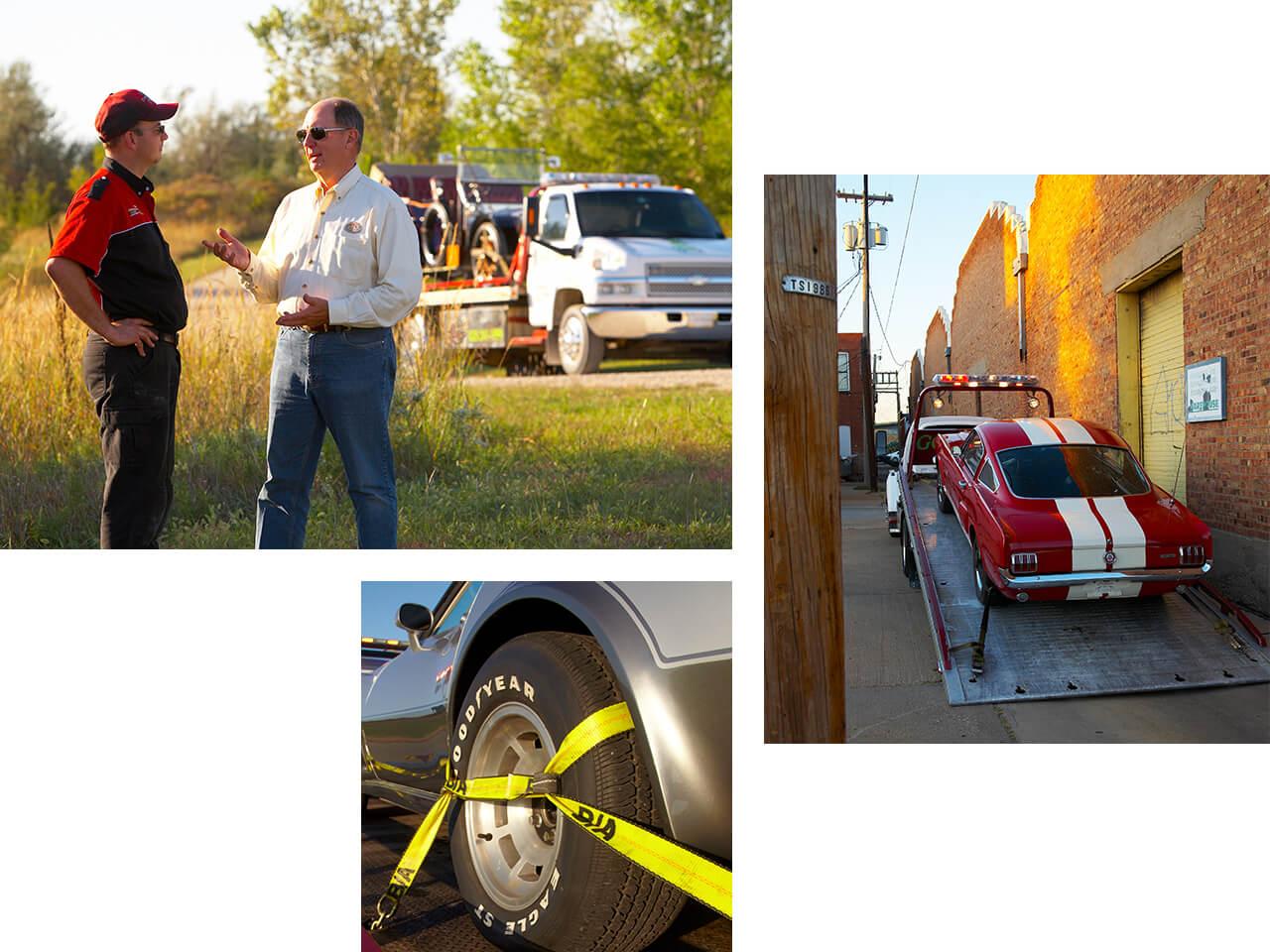 Two men talking next to a white tow truck with a red collector vehicle strapped to it.