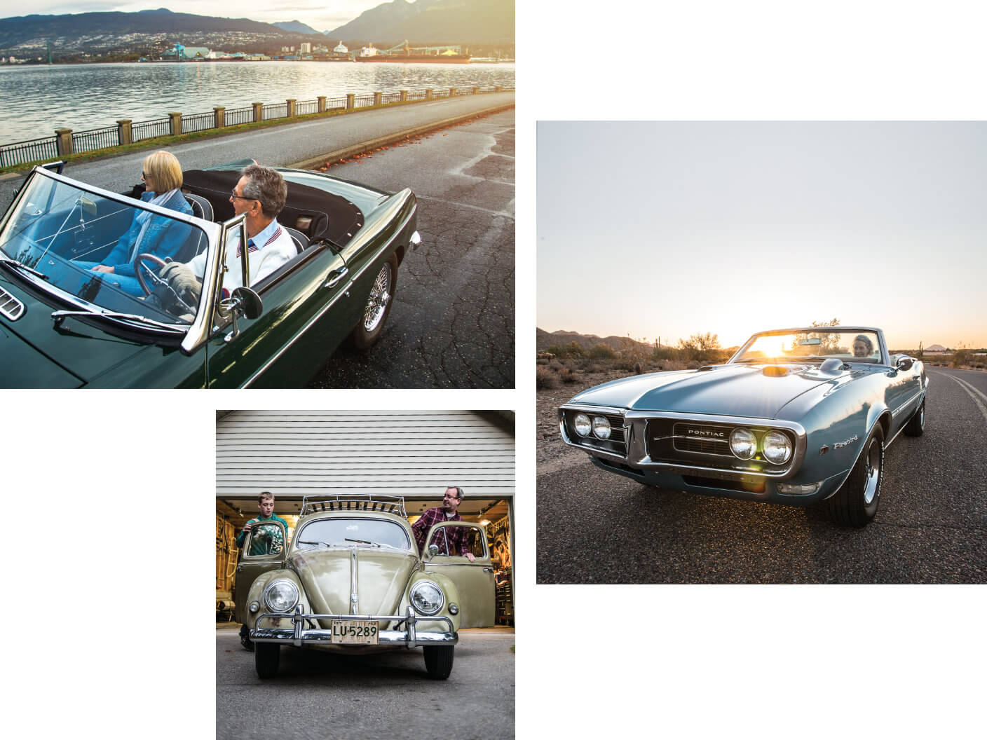 Three image collage of classic cars