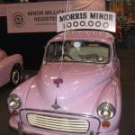 """One of about 200 """"millionth"""" Morris Minors in ghastly pink."""