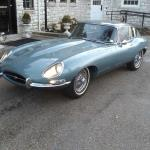 Rob Sass' '65 E-Type parked in front of Hagerty's headquarters in Traverse City, Mich.