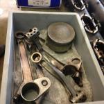 Campbell's Sunbeam 'Blue Bird' engine parts- bent.