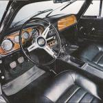 Brochure photo showing stylish interior. Seats and dash were skai (vinyl).