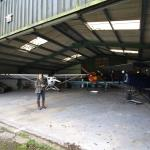 Inside the hangar.