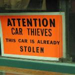 Where this sign is now, used to be a lovely classic car.