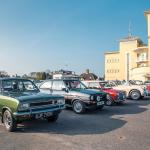Cars form up at Towcester Racecourse