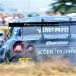 Steve Biagioni shaves the bales in his Nissan GT-R drift car (S Mosley)