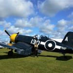 Detail is everything for the re-enactors. FAA pilot with Royal Navy Corsair