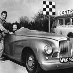 Stirling Moss and Sheila Van Damm in the Sunbeam Alpine
