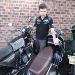 Kawasaki Z1000ST, Vespa GS and Honda 500 street scrambler which Nigel builds to order