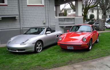 2002 Porsche Boxster and 1978 Porsche 911SC coupe