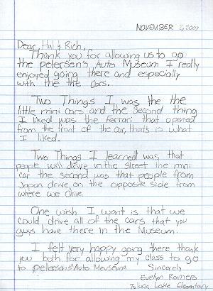 Toluca Lake student letter.
