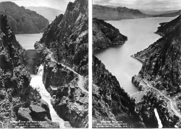 Shoshone Dam in 1924 (left) and 1926 (right). The dam is now called the Buffalo Bill Dam.