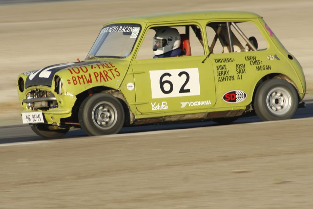 Team Bean's 1962 Austin Mini is among the rustiest, most wretched Minis still able to move under its own power.