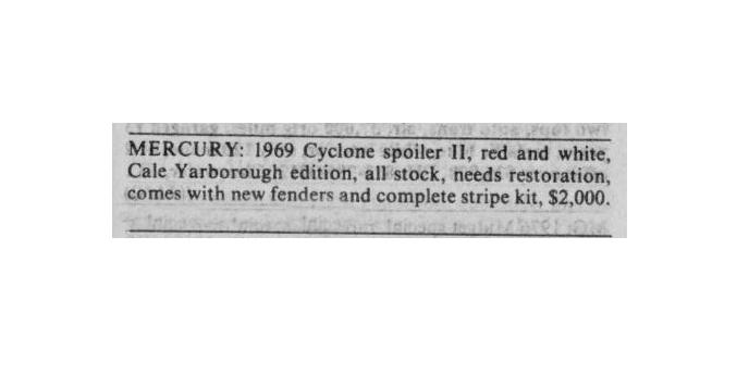 Classic Classified: 1969 Mercury Cyclone Spoiler II thumbnail
