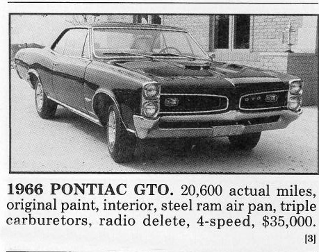 Classic Classified: 1966 Pontiac GTO Hardtop 389/360hp thumbnail