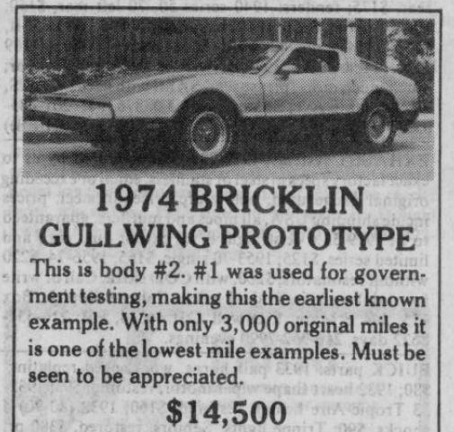 Classic Classified: 1974 Bricklin SV-1 thumbnail