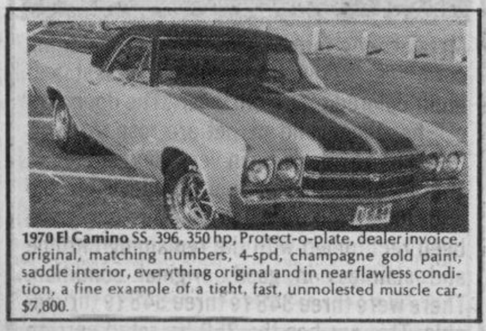 Classic Classified: 1970 Chevrolet El Camino SS 396 thumbnail
