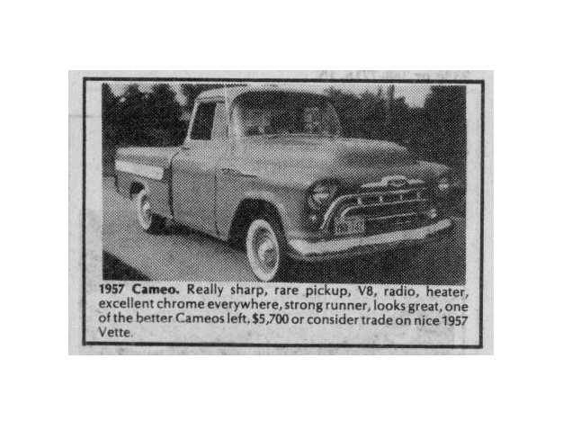 Classic Classified: 1957 Chevrolet Series 3100 Cameo Pickup thumbnail
