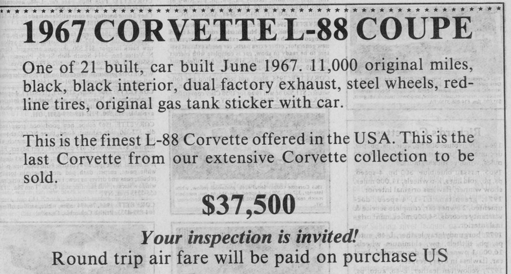 Classic Classified: 1967 Chevrolet Corvette L88 Coupe thumbnail