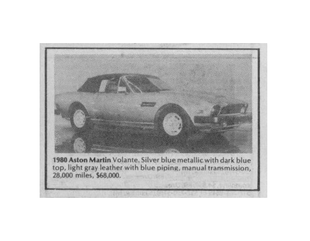 Classic Classified: 1980 Aston Martin V8 Volante thumbnail