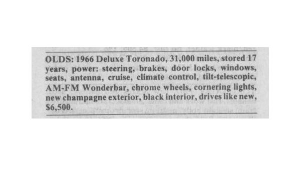 Classic Classified: 1966 Oldsmobile Toronado thumbnail