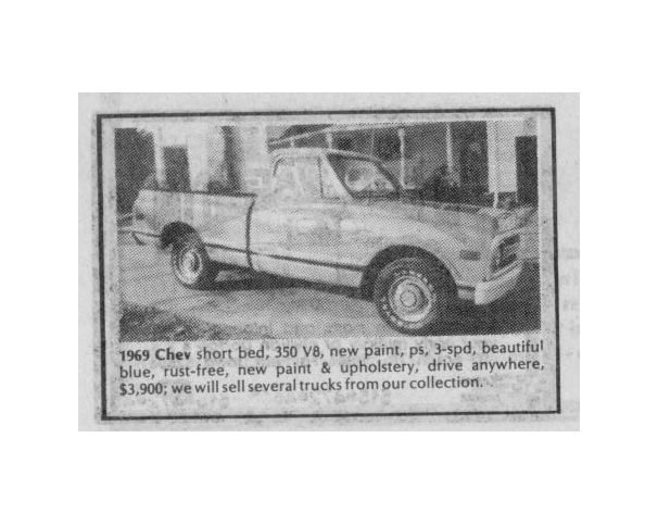 Classic Classified: 1969 Chevrolet C10 Pickup thumbnail