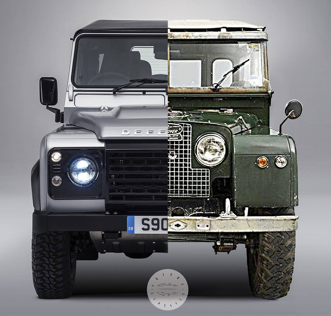 """then and now"" split-screen Land Rover"