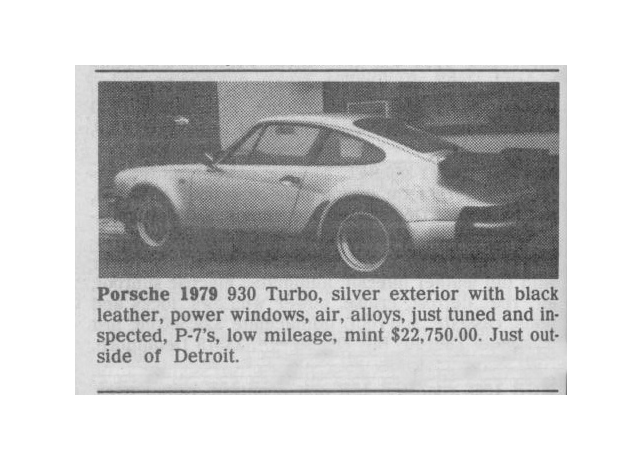Classic Classified: 1979 Porsche 911 Carrera Turbo thumbnail