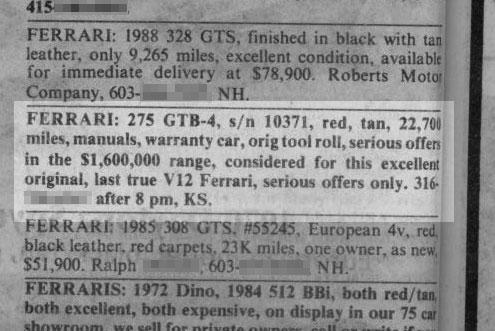 Classic Classified: 1967 Ferrai 275 GTB/4 thumbnail