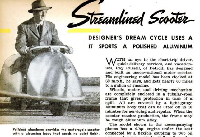 Streamlined Scooter - Popular Science 1946