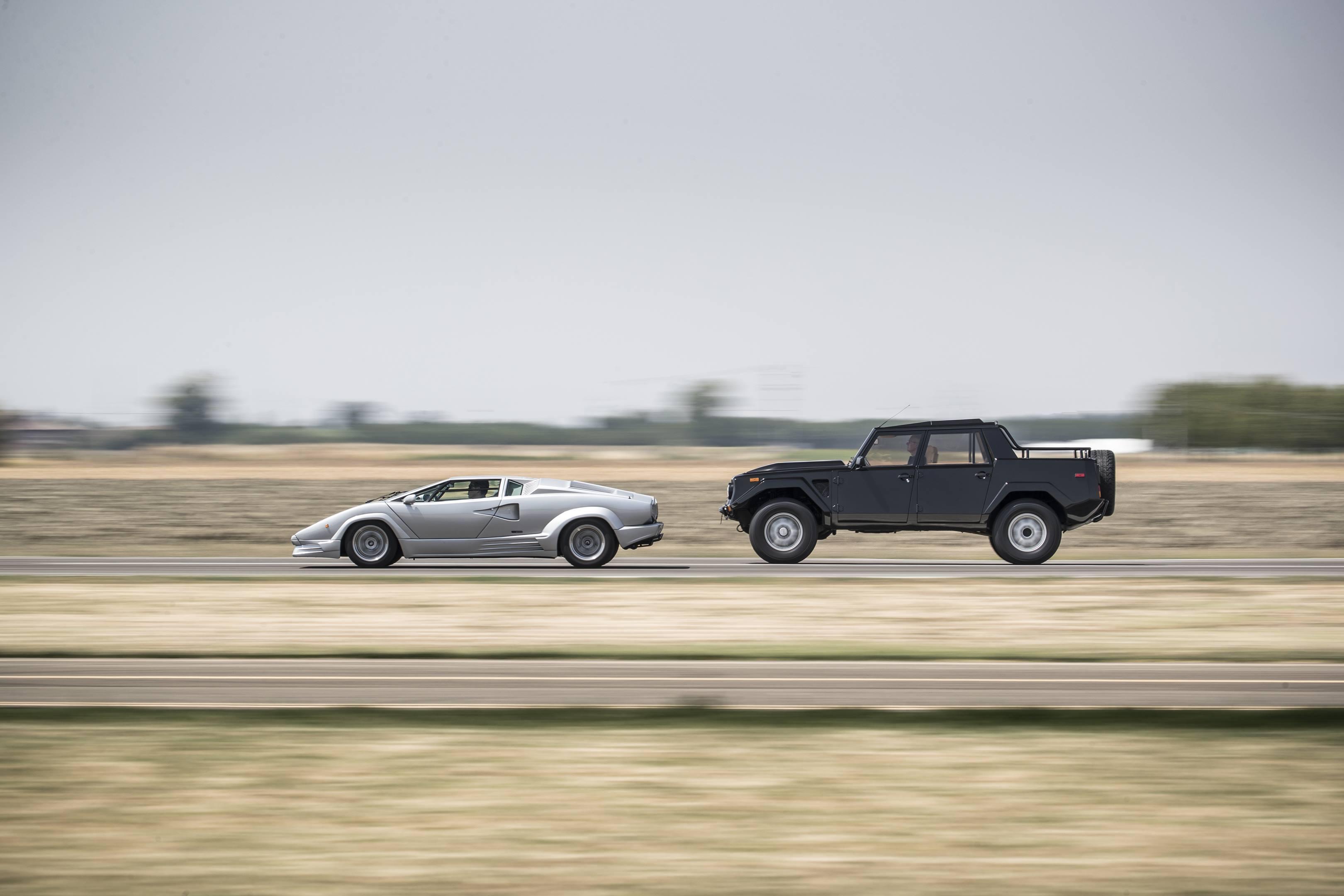 Lamborghini LM002 next to a Countach