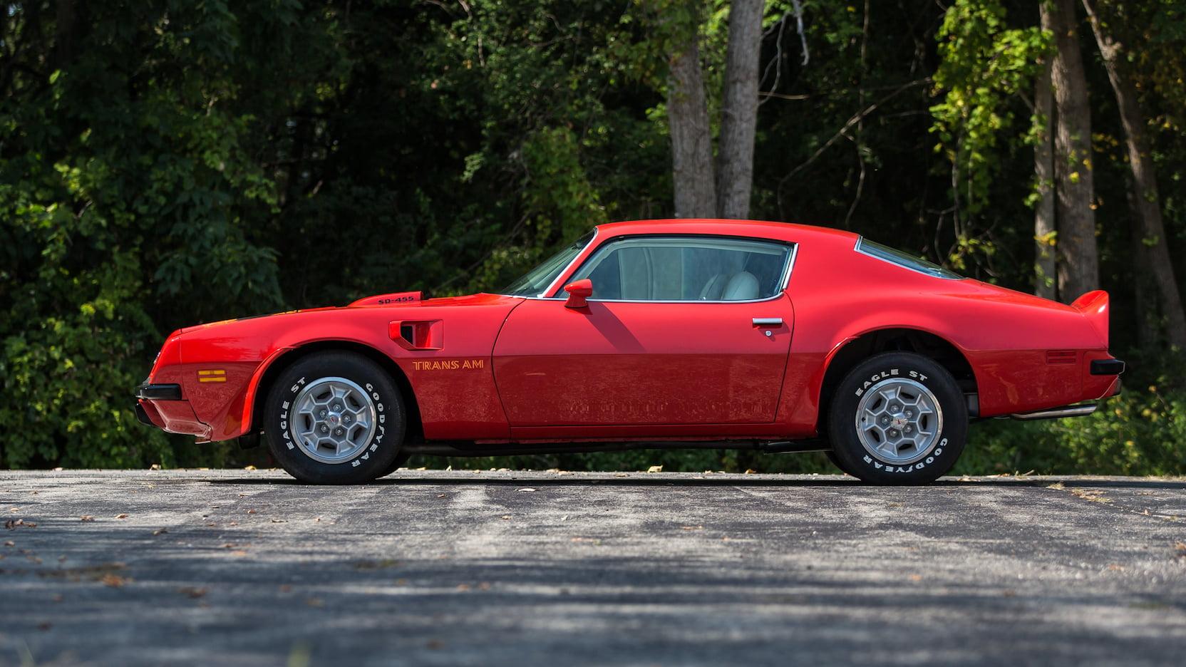 1974 pontiac trans am sd 455 red bandit mecum auction
