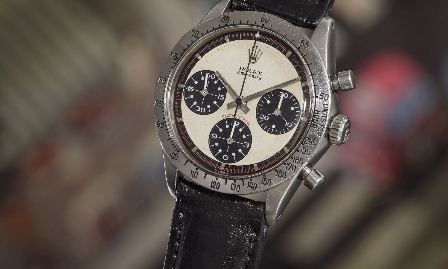 Paul Newman's 1968 Rolex Cosmograph Daytona watch face