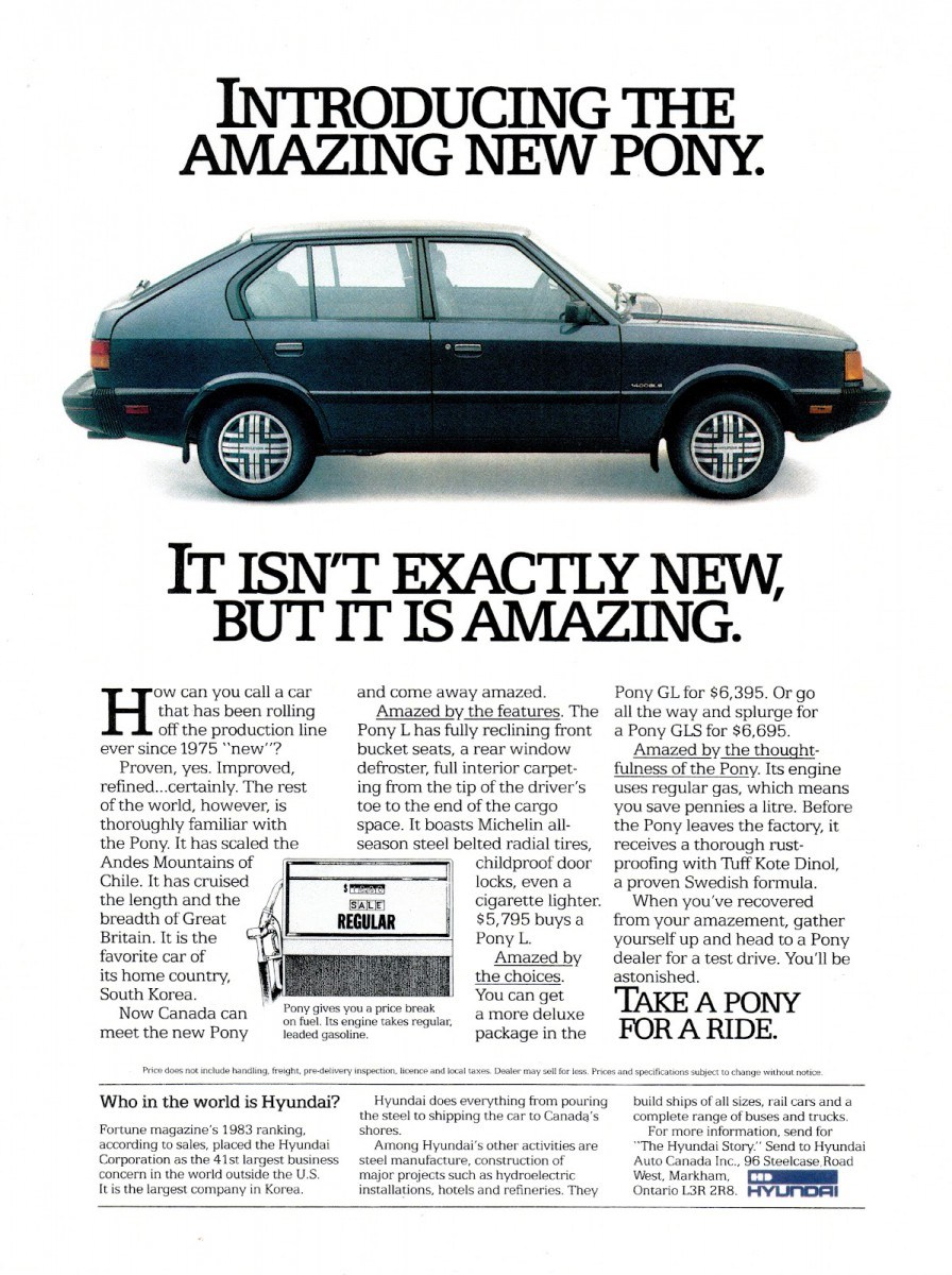 Hyundai Pony advertisement