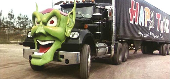 Goblin faced semi-truck in Maximum Overdrive