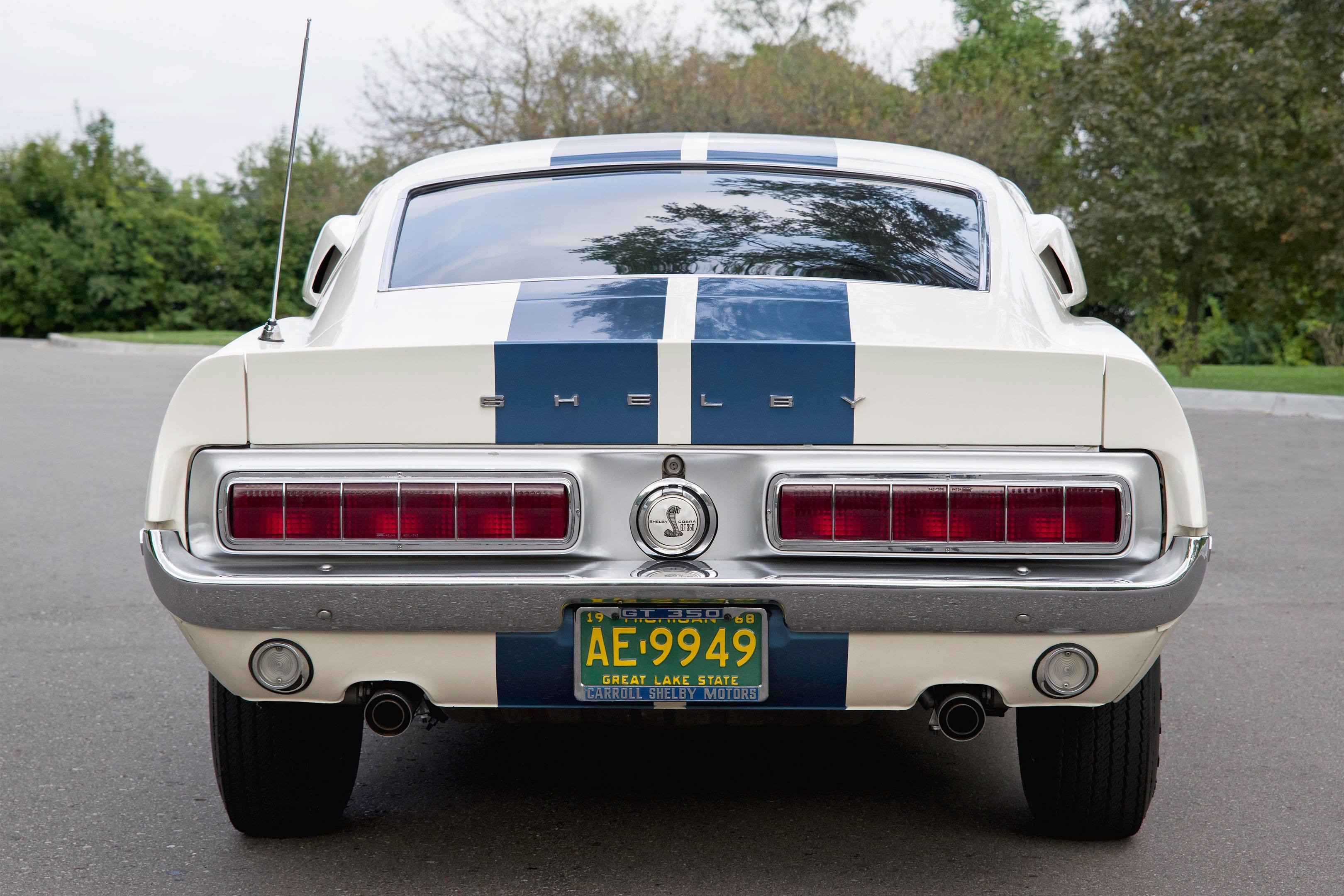The Shelby Snake gas cap is another distinctive touch. Michigan law allows model-year plates for historic cars that are not driven regularly.