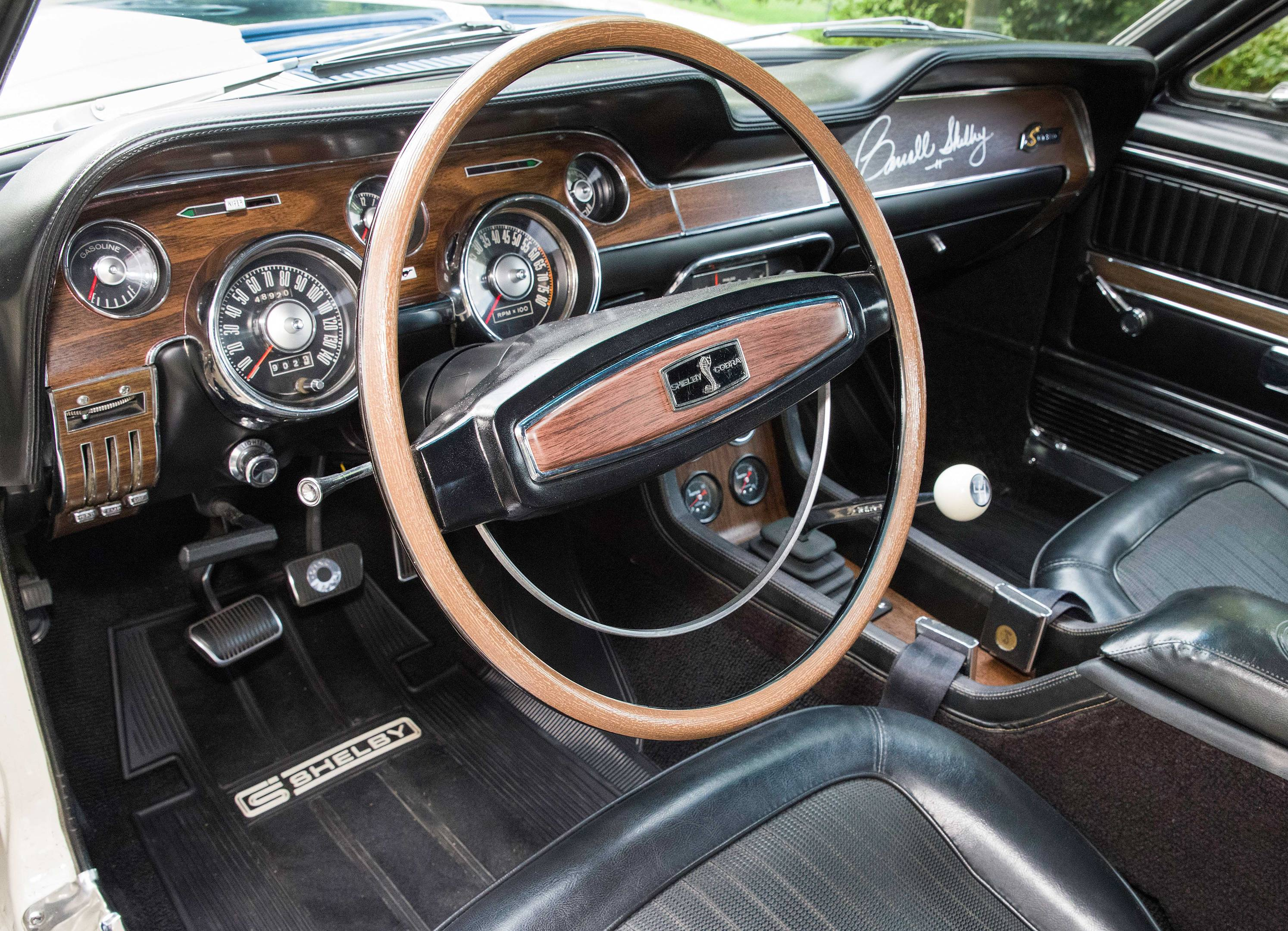 The car is correct inside, with the factory gauges and Shelby Cobra steering wheel.