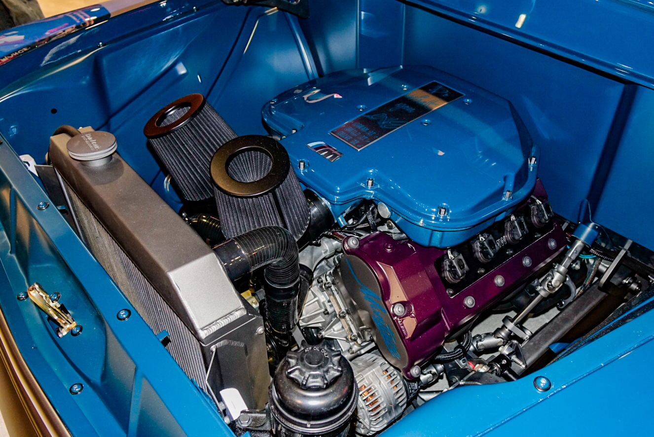custom 1957 Chevy pickup engine