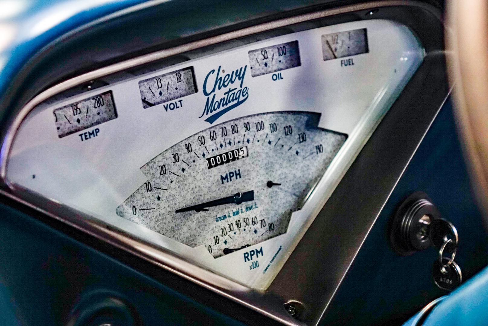 custom 1957 Chevy pickup gauges