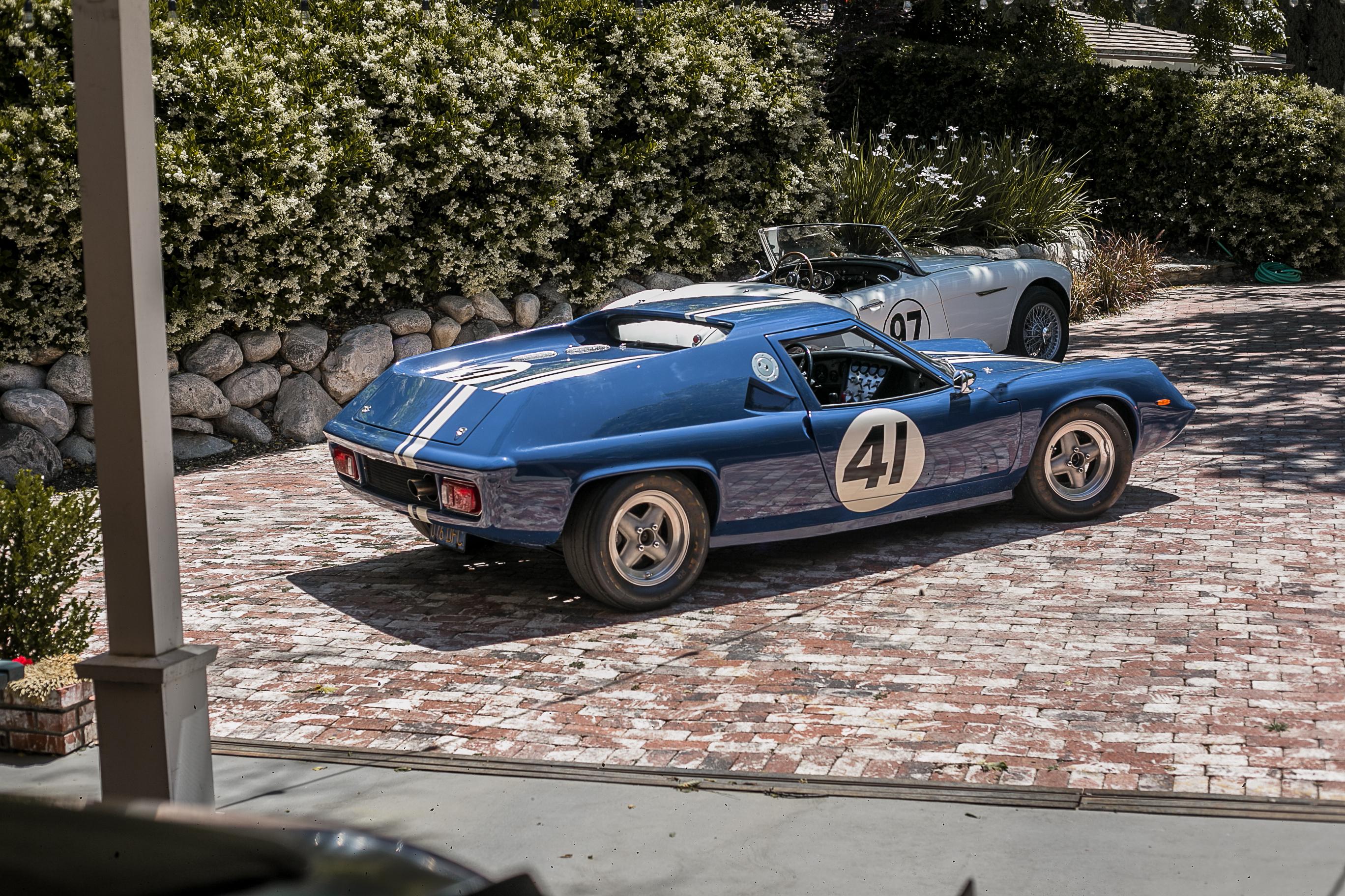 A 1970 Lotus Europa and and a 1960 Austin-Healey 3000 MkI