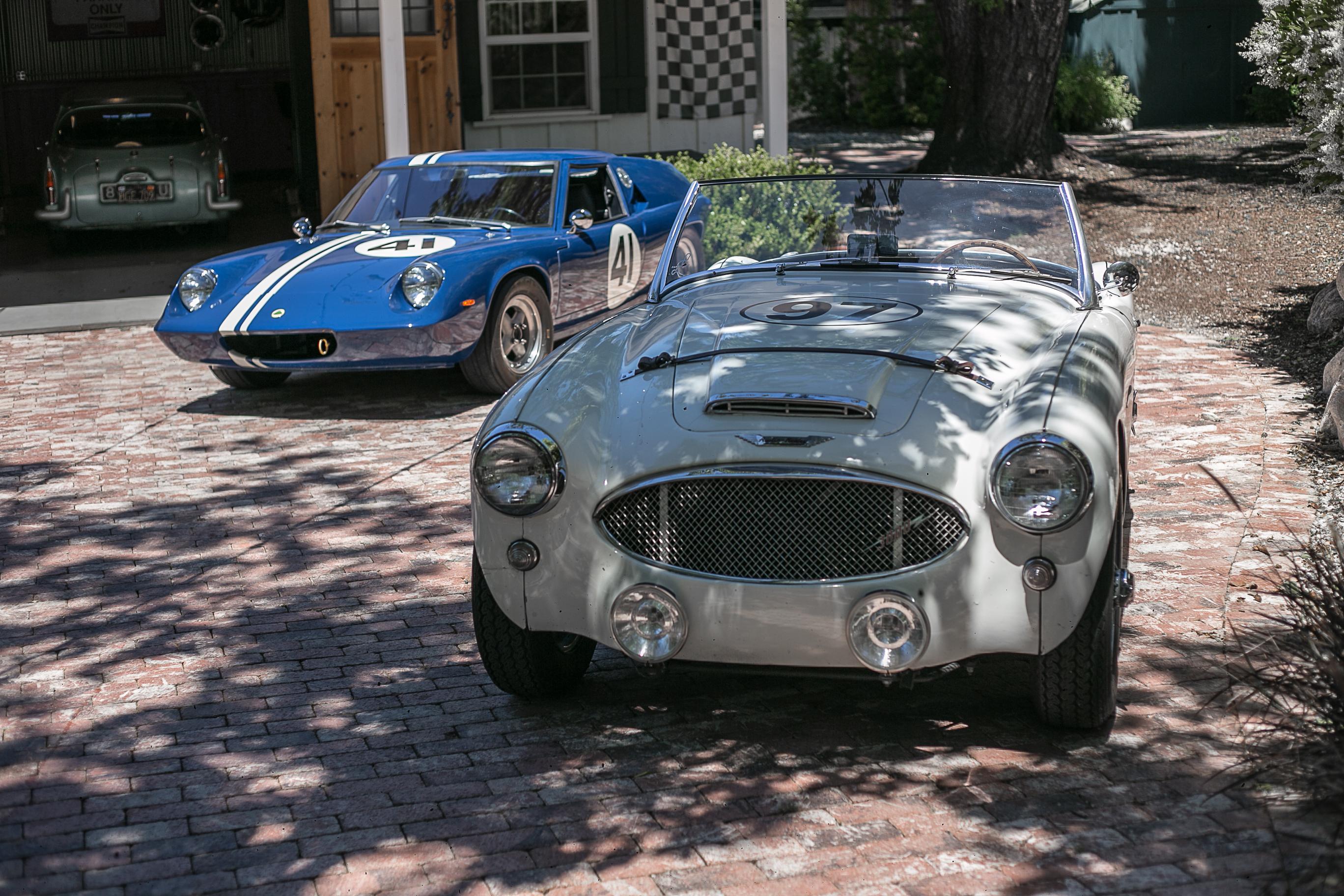 A 1960 Austin-Healey 3000 MkI and a 1970 Lotus Europa.