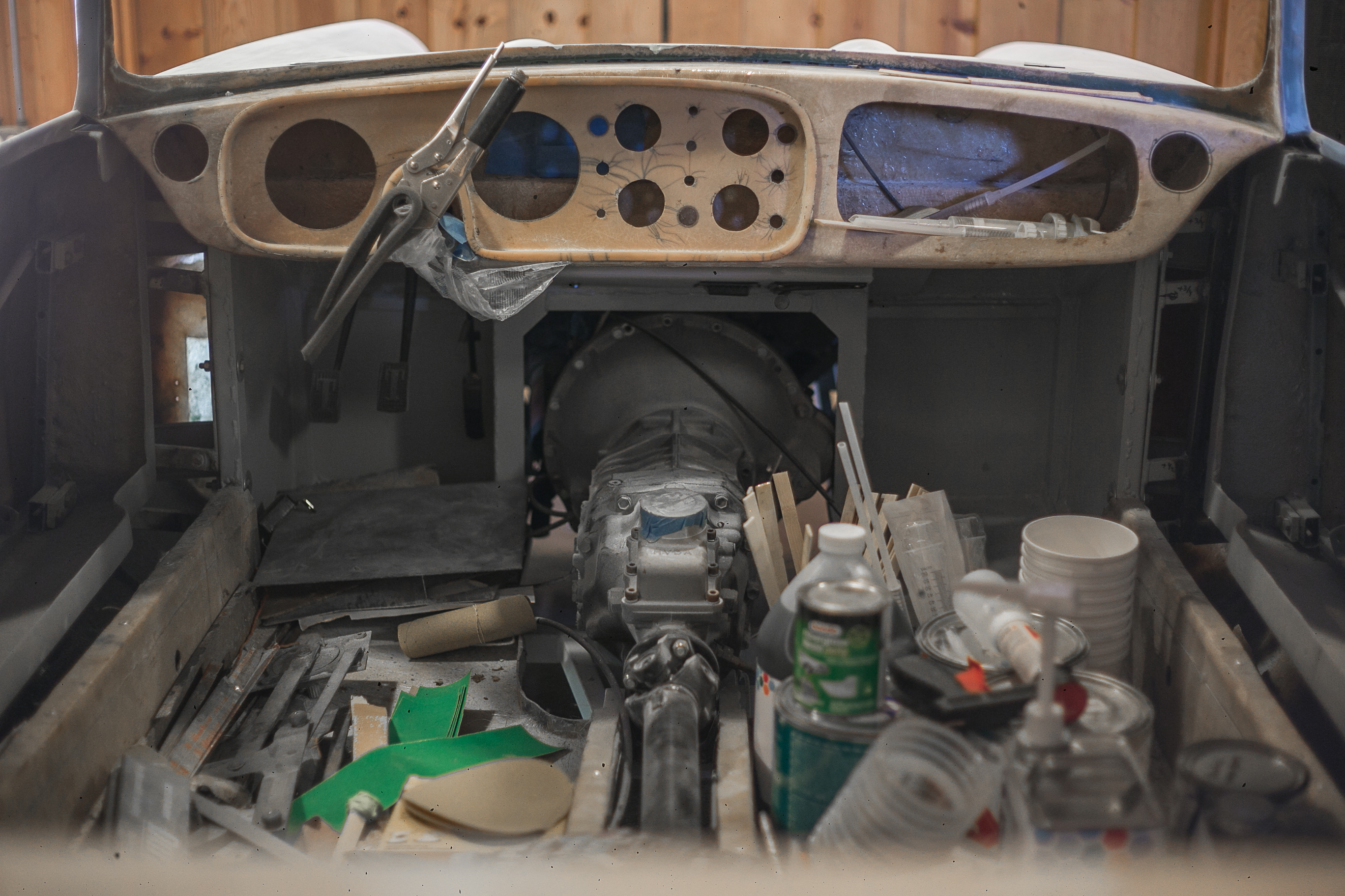 A 1959 Peerless GT in midst of restoration in the Caccavo garage in Thousand Oaks, California.