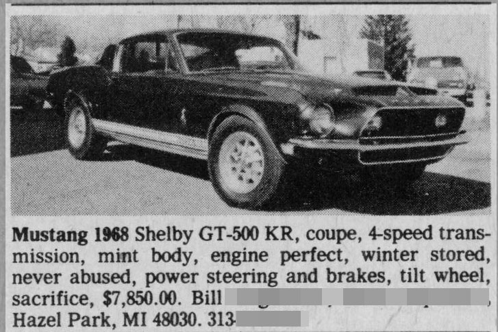 Classic Classified: 1968 Shelby GT500 KR thumbnail