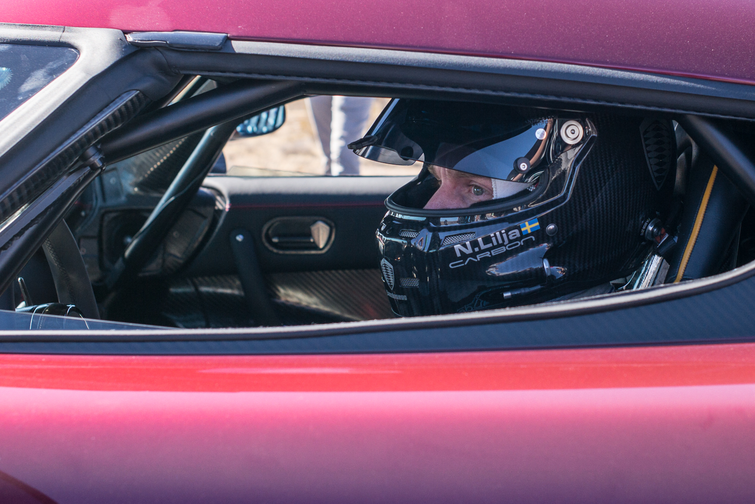Niklas Lilja behind the wheel of the Koenigsegg Agera RS