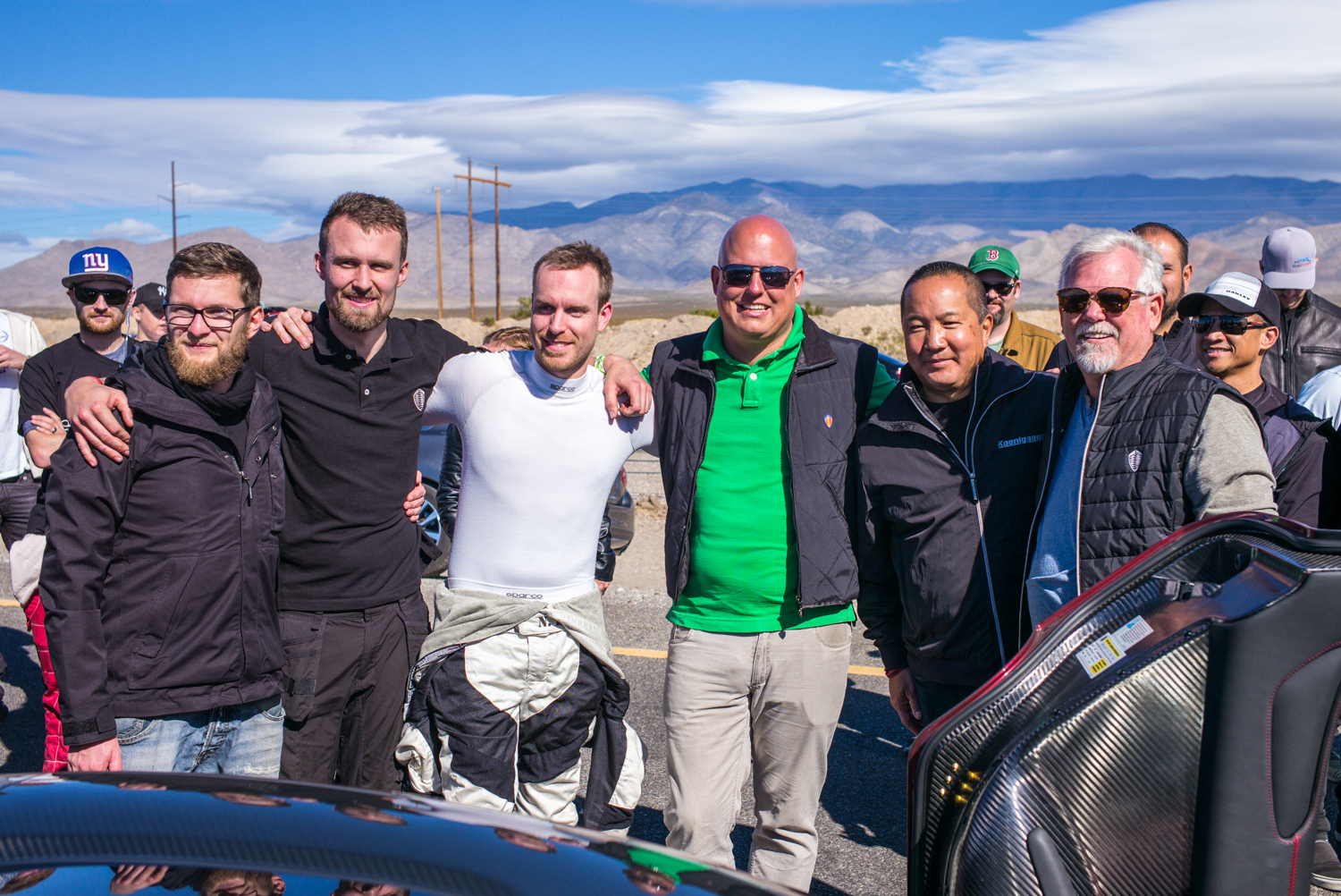Koenigsegg team after the successful run