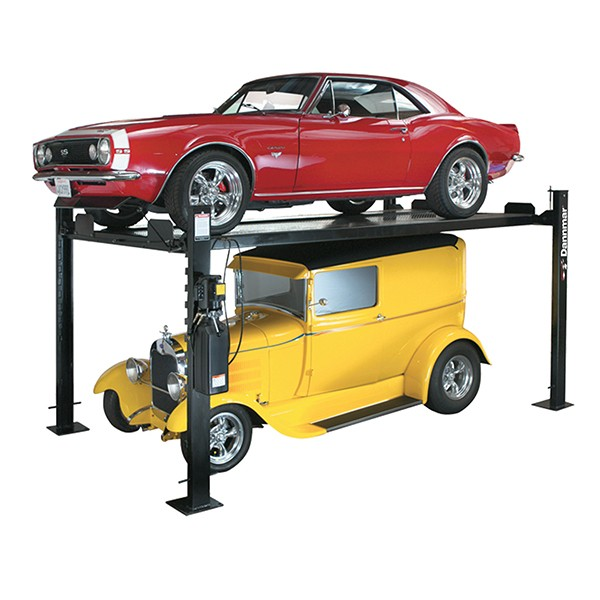 Danmar D-7 four-post lift used for stacking cars.