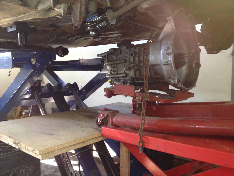 Sliding the transmission jack and transmission onto the platform