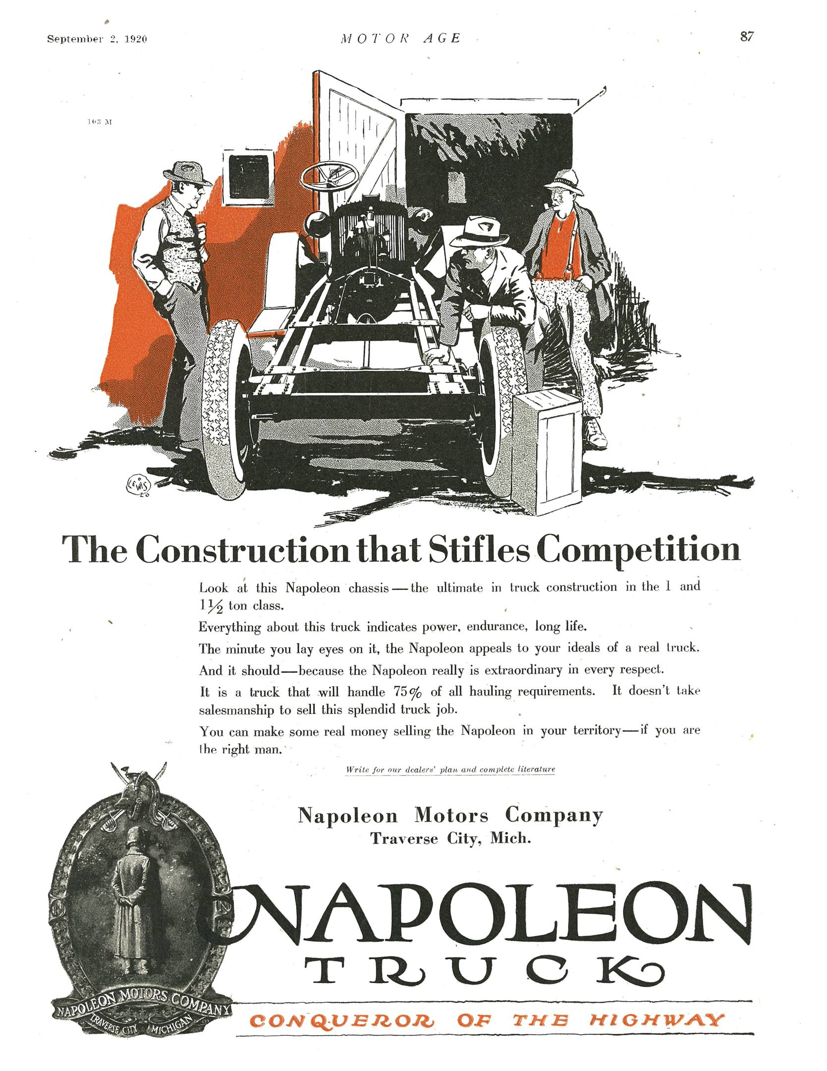 """A 1920 ad in Motor Age magazine featuring the Napoleon Truck, """"Conqueror of the Highway"""""""